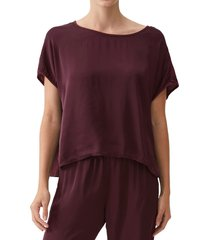 michael stars elena boxy mixed media top, size x-small in eggplant at nordstrom