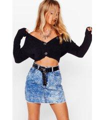 womens tell 'em off-the-shoulder fluffy knit cardigan - black