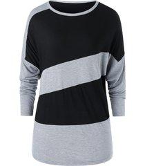 plus size two tone drop shoulder tunic t shirt
