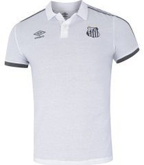 camisa polo do santos viagem 2019 umbro - masculina - branco/cinza