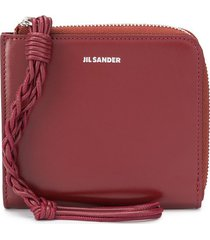 jil sander embossed logo square zipped wallet - brown