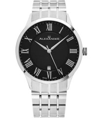 alexander watch a103b-02, stainless steel case on stainless steel bracelet
