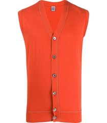 eleventy v-neck sleeveless cardigan - orange
