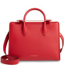 strathberry midi calfskin leather tote - red