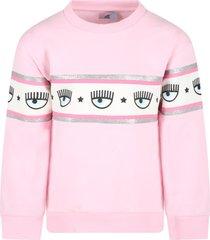 chiara ferragni pink sweatshirt for girl with iconic wink