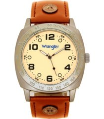 wrangler men's watch, 44mm ip grey cushion shaped case, beige dial with black arabic numerals, brown strap rivets, second hand