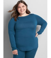 lane bryant women's boatneck curved-hem tee 18/20 legion blue