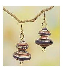 recycled paper dangle earrings, 'spin the top' (ghana)