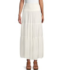 stellah women's smocked tiered skirt - white - size m