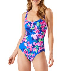 tommy bahama bougainvillea reversible one-piece swimsuit, size 12 in beaming blue rev at nordstrom