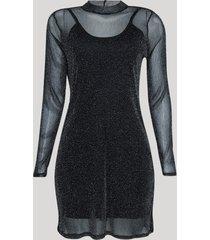 vestido de tule feminino curto com brilho manga longa gola alta preto