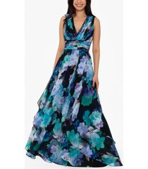 betsy & adam floral-print chiffon gown