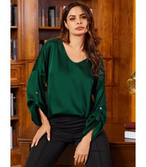 yoins verde satén redondo cuello blusa manga larga