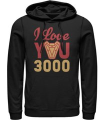 marvel men's avengers endgame i love you 300 arc reactor, pullover hoodie