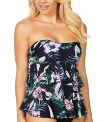 island escape san joaquin floral printed tiered tankini, created for macy's women's swimsuit