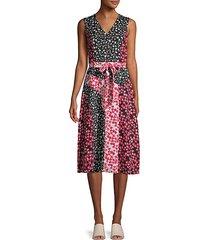 mixed floral knee-length dress