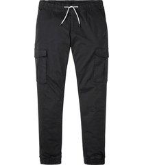 pantaloni cargo elasticizzati con elastico in vita slim fit straight (nero) - rainbow