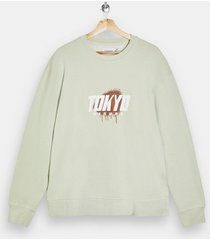 mens beige green tokyo print sweatshirt