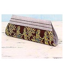 silk clutch handbag, 'royal vow in brown and grey' (india)