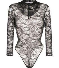 fleur du mal chat lace hooded bodysuit - black