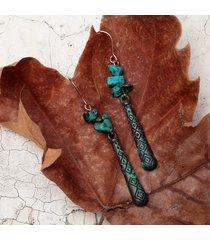 orecchini pendenti etnici turchesi da donna con motivo geometrico vintage inciso a goccia pendente orecchini pendenti