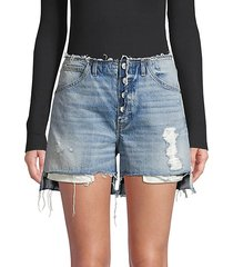 button-fly denim shorts
