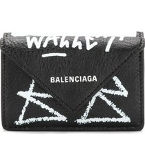 balenciaga mini papier wallet - black