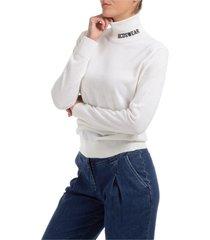 dolcevita collo alto maglione maglia donna logo