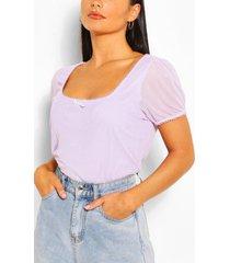 lettue hem mesh t-shirt, lilac