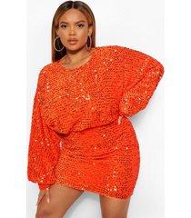 plus oversized mini-jurk met blousonmouwen en lovertjes, rood