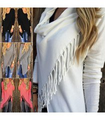 women fashion tassel fringe hem irregular baggy hoode batwing shawl coat knitted