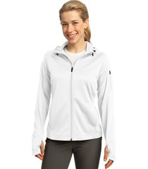 sport-tek l248 tech fleece ladies full-zip hooded jacket - white