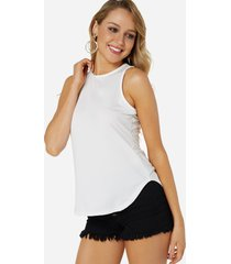 camiseta sin mangas estilo causal blanca
