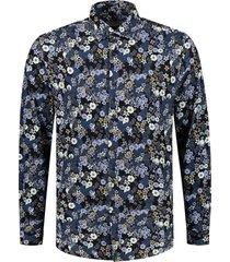 overhemd multi flower donkerblauw
