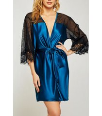 icollection elegant ultra soft sain lace robe with mesh panels