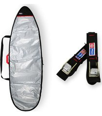 capa prancha surf refletiva acolchoada 5'8 a 5'11 + fita rack 5m - maori extreme