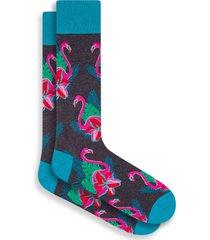 men's bugatchi stripe socks, size one size - grey