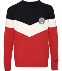 red and blue blended cashmere mans sweater