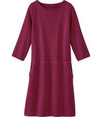 gebreide jurk uit bio-merino/katoenmix met lichte boothals, framboos 34