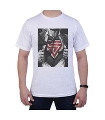 camiseta superman masculina manga curta simon vergan - branco