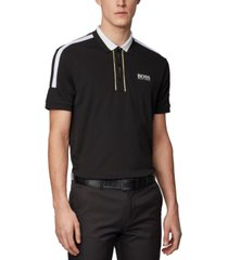 boss men's paddy mk black polo shirt