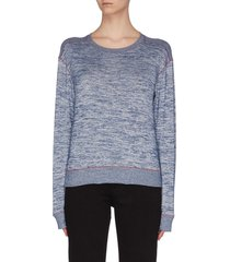 'avryl' rib shoulder contrast topstitch sweatshirt