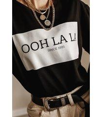 czarny t-shirt z logo ooh la la