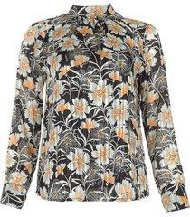 blouse met bloemenprint fayah  zwart
