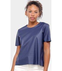 blusa aura t-shirt couro feminina - feminino
