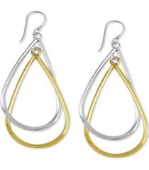 essentials double teardrop drop earrings in silver- & gold-plate
