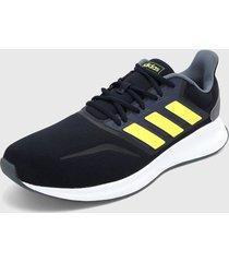 tenis running azul oscuro-gris-amarillo-blanco adidas performance runfalcon