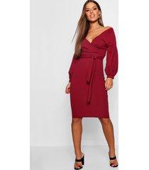 petite off the shoulder wrap midi dress, berry