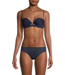la perla women's padded lace u-plunge bra - blue - size 34 c