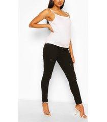 zwangerschap versleten over the bump skinny jeans, zwart
